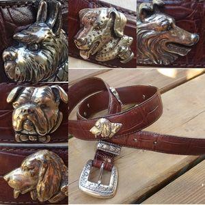 VINTAGE 80'S Talbots Dog Moc-Croc Leather Belt M